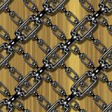 Iron chains with wood seamless texture Royalty Free Stock Photography