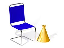 Iron chair and megaphone. The three-dimensional cartoon image of an iron chair and megaphone on a white background Royalty Free Illustration