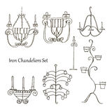 Iron chandeliers set Stock Photo
