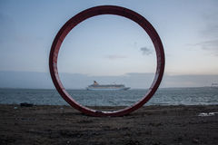 Iron Circle Structure near Tagus River in Lisbon Stock Image