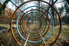 Iron circles, perspective, corridor or tunnel view, the object on playground royalty free stock image