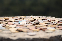 The iron coins on stone on Olymp Stock Images