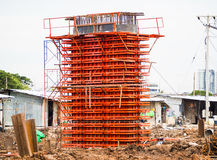 Iron construction to construct concrete pole. On working site Stock Images