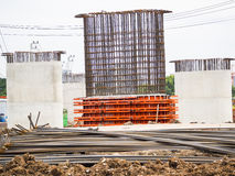 Iron construction to construct concrete pole Royalty Free Stock Images
