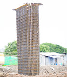 Iron construction to construct concrete pole. On working site Stock Photography