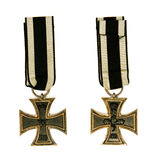 Iron cross. Old german medal Iron Cross on white background royalty free stock images