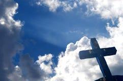 Iron cross. Against blue shining sky stock photo