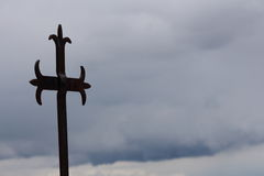 Iron cross. On the beach,Rovinj,Istria, Croatia royalty free stock image