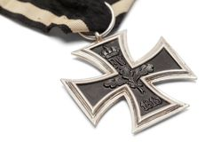 Iron Cross Close Up. German Iron Cross Close Up Isolated on White royalty free stock photos