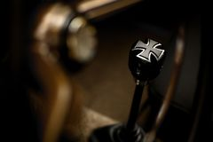Iron Cross gear shifter. Detail of a vintage gear shifter in the form of the Iron Cross stock images