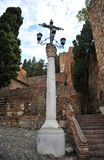 Iron cross and lanterns, Alcazaba of Malaga, Andalucia, Spain Stock Photography