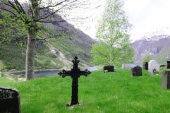 Iron Cross, Nordic Cemetery, Mountain Scene, Fjord View Royalty Free Stock Photos