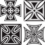 Iron Crosses. Collection of four, square iron crosses Stock Image