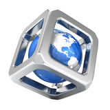 Iron Cube around blue earth. Isolated on white Stock Image
