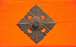 The iron decor on Japanese temple door Stock Images