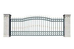 Iron decorative fence with pillar. stock images
