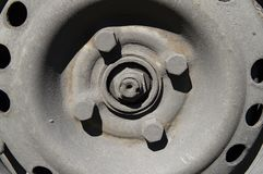 The iron disk of a car wheel - tire. Fitting, car repair stock image