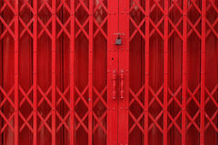 Iron door. Red iron door with lock Stock Photos