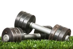 Iron dumbbell on green grass. Stock Photos