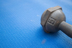 Iron dumbbell 5 kilograms on blue yoga mat Royalty Free Stock Image