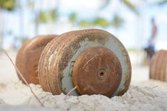 Iron dumbbells in the sand Stock Photos