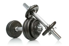 Iron Dumbbells Set On White Stock Photography
