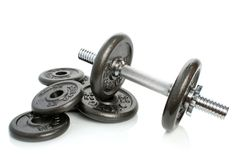 Iron Dumbbells Set On White Stock Photo