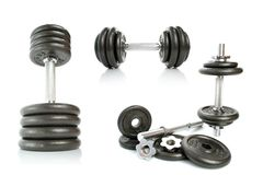 Iron Dumbbells Set On White Stock Image