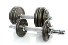 Iron dumbbells set solated Stock Photos