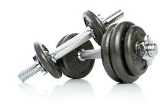 Iron dumbbells set solated Royalty Free Stock Photos