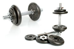 Iron dumbbells set solated Royalty Free Stock Image