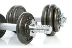Iron dumbbells set on white Royalty Free Stock Photography