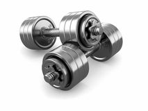 Iron dumbbells weight. Royalty Free Stock Images
