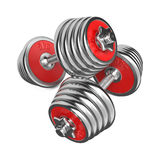 Iron Dumbbells Weight on White Background. 3d Royalty Free Stock Image
