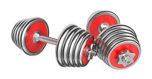 Iron Dumbbells Weight on White Background. 3d Royalty Free Stock Photography