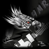 Iron eagle with a guitar in its claws Royalty Free Stock Photo