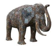 Iron elephant isolated on white Stock Image