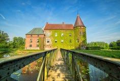 Iron entry bridge to Ortofta castle Stock Photo