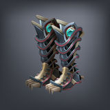 Iron fantasy armor boots for game or cards. Vector illustration Royalty Free Stock Photography