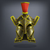 Iron fantasy armor helmet for game or cards. Vector illustration Royalty Free Stock Image