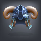 Iron fantasy armor helmet for game or cards. Vector illustration Stock Image