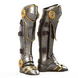 Iron fantasy high boots knight armor isolated on white background. 3d illustration. Iron fantasy high boots knight armor isolated . 3d illustration Royalty Free Stock Images