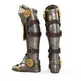 Iron fantasy high boots knight armor isolated on white background. 3d illustration. Iron fantasy high boots knight armor isolated . 3d illustration Stock Photos
