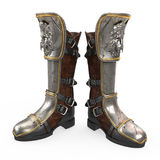 Iron fantasy high boots knight armor isolated on white background. 3d illustration Royalty Free Stock Images
