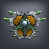 Iron fantasy shield for game or cards. Royalty Free Stock Photo