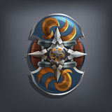 Iron fantasy shield for game or cards. Vector illustration Royalty Free Stock Photos