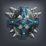 Iron fantasy shield for game or cards. Vector illustration Stock Photo