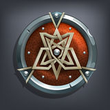 Iron fantasy shield for game or cards. Vector illustration Royalty Free Stock Photo