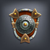 Iron fantasy shield for game or cards. Vector illustration Stock Photos