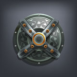 Iron fantasy shield for game or cards. Vector illustration Stock Image